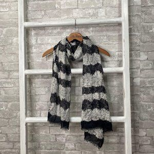 Talbots Blue White Striped Floral Scarf